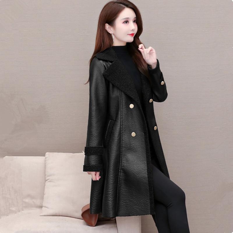 UHYTGF Quality PU Autumn Winter Leather Jacket Women Fashion Double-Breasted Slim Female Coats Plus Velvet Warm Casual Tops 1868 enlarge
