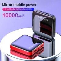 Power Bank 10000mAh Portable Charging Poverbank Mobile Phone LED Power Bank External Battery Pack Mirror Back Powerbank Charger