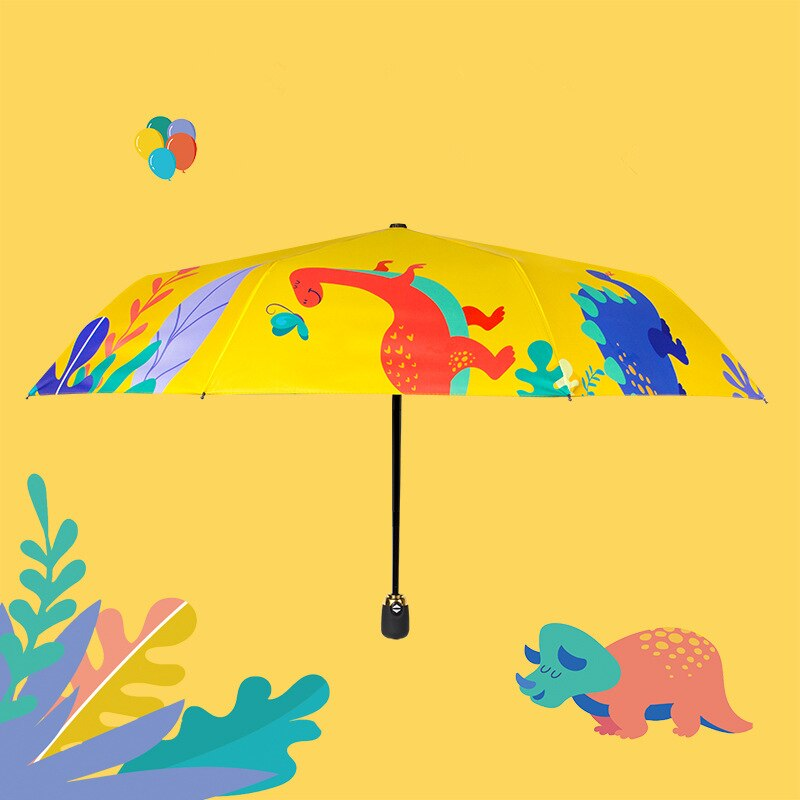 Paraguas automático resistente al viento, paraguas de lluvia portátil para niños, paraguas resistentes a la lluvia para regalo para niños, paraguas de dinosaurio de dibujos animados