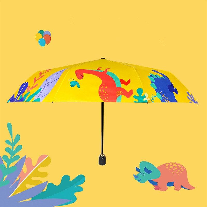 Wind Resistant Automatic Umbrella Rain Children Portable Light Durable Umbrellas Rain For Kids Gift Cartoon Dinosaur Umbrella