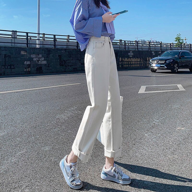 Beige Jeans Women's Straight Loose Autumn Clothing 2021 New Small High Waist Slimming and Wide Leg D