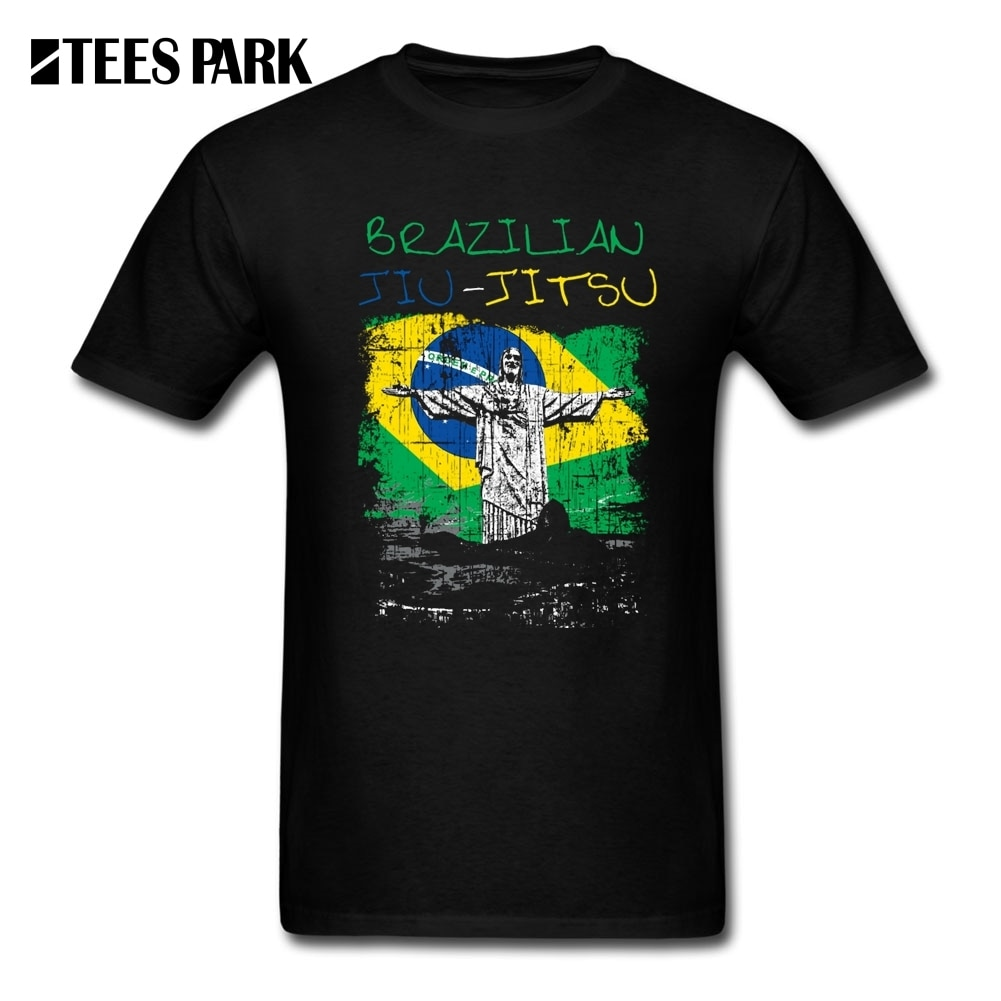 Camisetas de otoño brasileño Jiu Jitsu BJJ Brasil hombres orgánicos de algodón de manga corta Camisetas de calidad para adultos estampado Brasil bandera