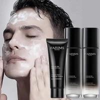 mens skin care set moisturizing cleansing lotion toner repair remove acne brighten volcanic rock perlite three piece beauty