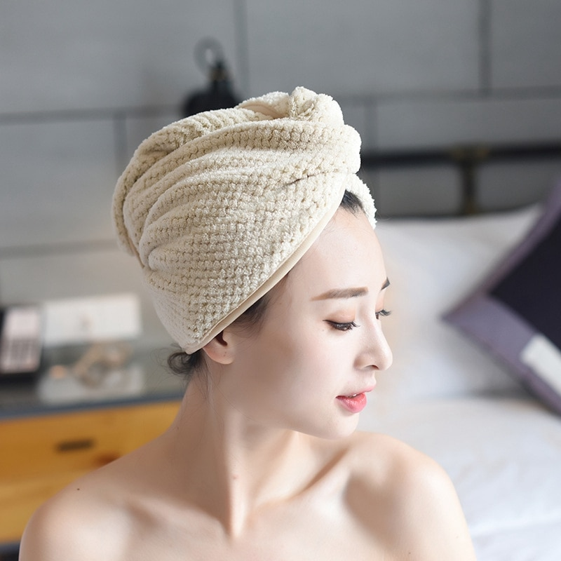 Magic Microfiber Bath Towel Hair Dry Quick Drying Lady Bath Towel Soft Shower Cap Hat for Lady Turba