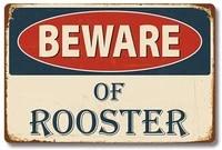 retro metal tin sign beware of rooster for shophomefarmcafegaragewall decorbest gift decor design 8x12 inch