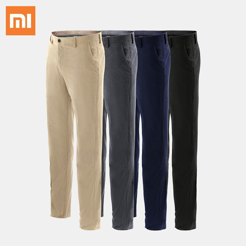 Xiaomi SKAH Classic Casual Trousers Men Business Straight Cotton Trousers Man Fashion Elastic Slim Fit Solid Color Casual Pants