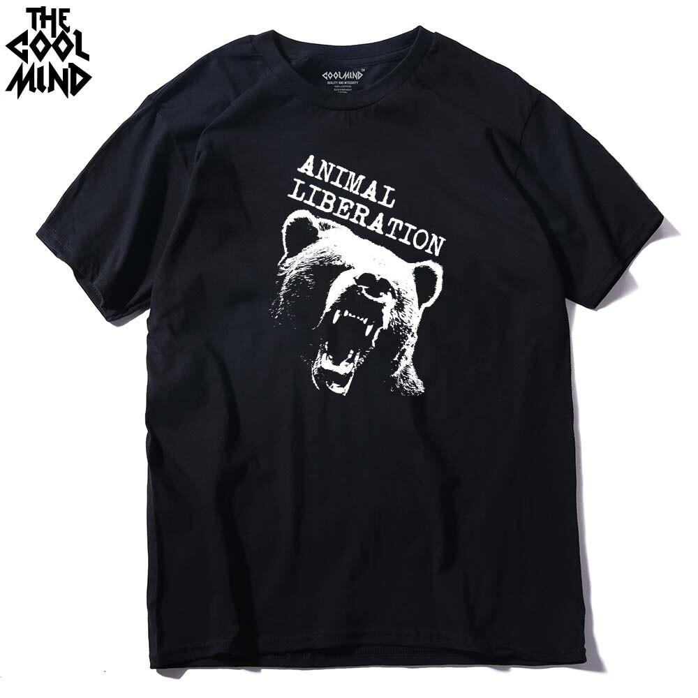 Coolmind be0112a 100% algodão manga curta o-pescoço animal libração urso impresso camiseta masculina casual confortável camisetas