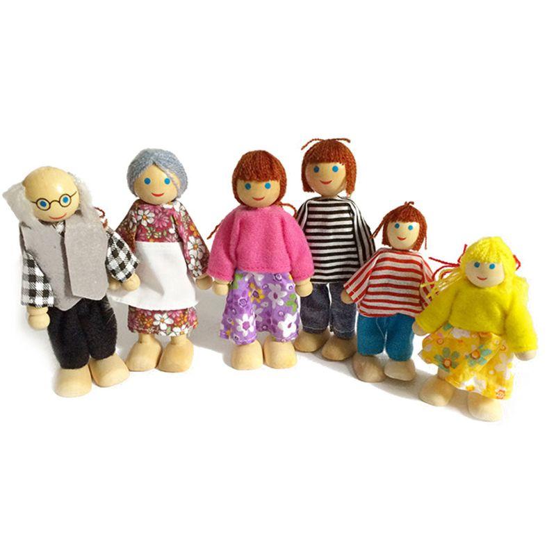 Muebles de madera en miniatura, juego de muñecas, casa, familia, personas, figuras, juego de simulación, casa de muñecas para niños