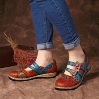 vintage floral pu leather splicing colored stitching hook loop flat shoes spring summer casual women flat shoes new