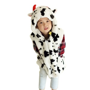 DOUBCHOW Baby Clothing Cute Animal Vest Unisex Children's Cartoon Cow Winter Hooded Kids Girls Boys Cosplay Costume Outwear Coat