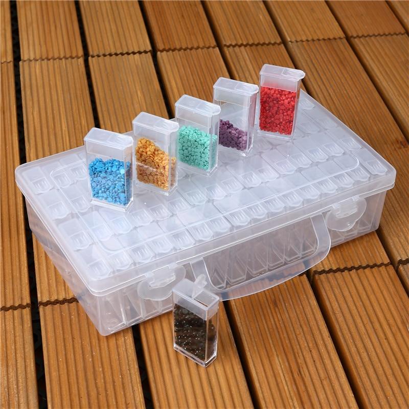 Caja de accesorios de caja de joyería de almacenamiento de plástico de 64 rejillas estuche de plástico práctico para anillos de cuentas organizador para presentación de joyas