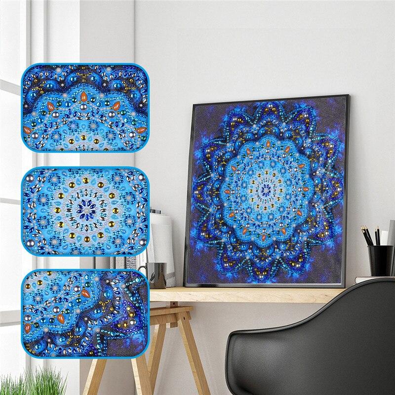 Peinture en diamant 5D bricolage Mandala   Broderie diamant religieuse, strass de forme spéciale, point de croix, décoration murale autocollante