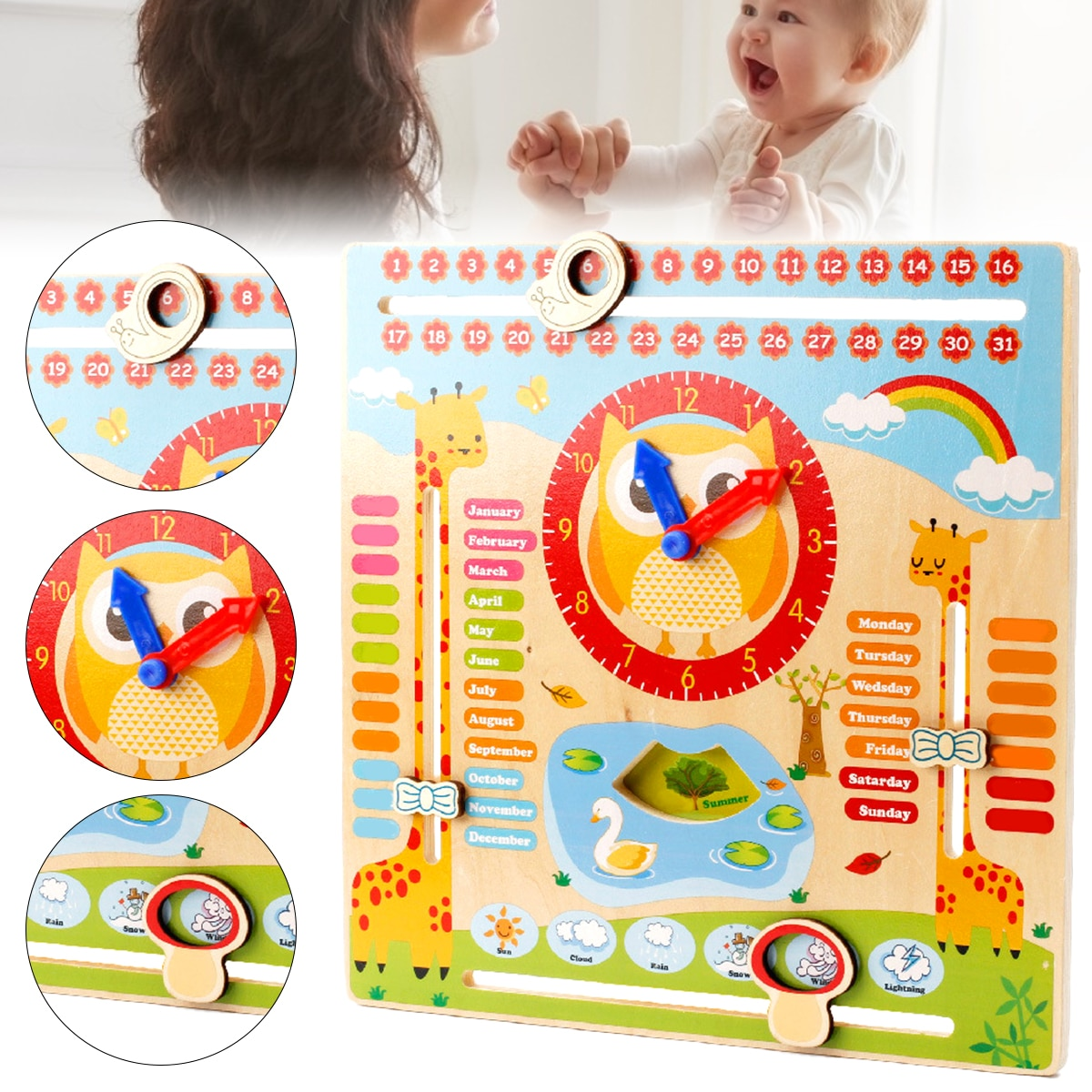 Baby Weather Season Calendar Clock Time Cognition Preschool Educational Teaching Aids Toys Montessori Wooden Toys For Children