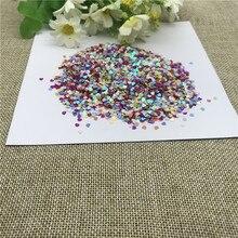 25g 3mm Farbe Herz Pailletten Gemischt Farbe Blume Nähen Bekleidungs Zubehör, Kleidung zubehör, DIY Pailletten scrapbooking shakes