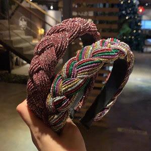 2021 New women Weave sponge hairbands girl's headbands lady's Serge headwear hair accessories