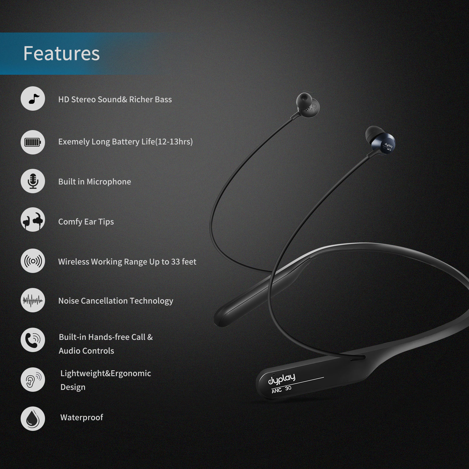 Dyplay ANC Wireless Headphones with Neckband Active Noise Cancelling Earphones Bluetooth Lightweight Sport Earbuds Waterproof enlarge