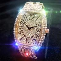 missfox eeriness mans wristwatch arabic rose gold man quartz watch tonneau shape fashion ins style stainless steel watches men