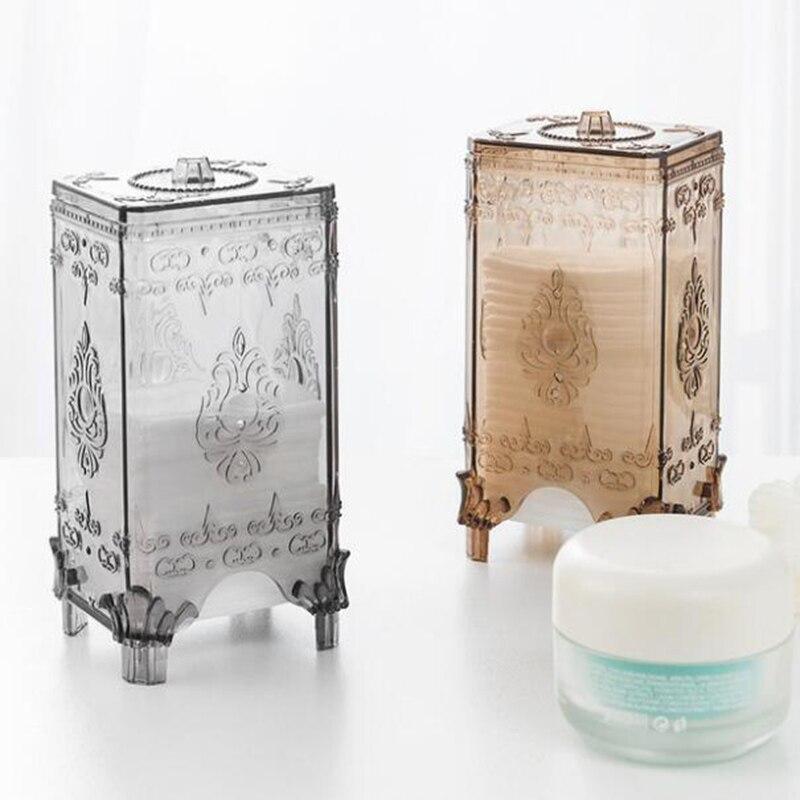 Transparent Cotton Pad Storage Box Organizer Round Cotton Pad European Style Cosmetic Sponge Bathroom Cosmetic Storage Box