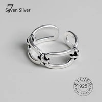 real 925 sterling silver finger rings for women hollow out trendy fine jewelry large adjustable antique rings anillos