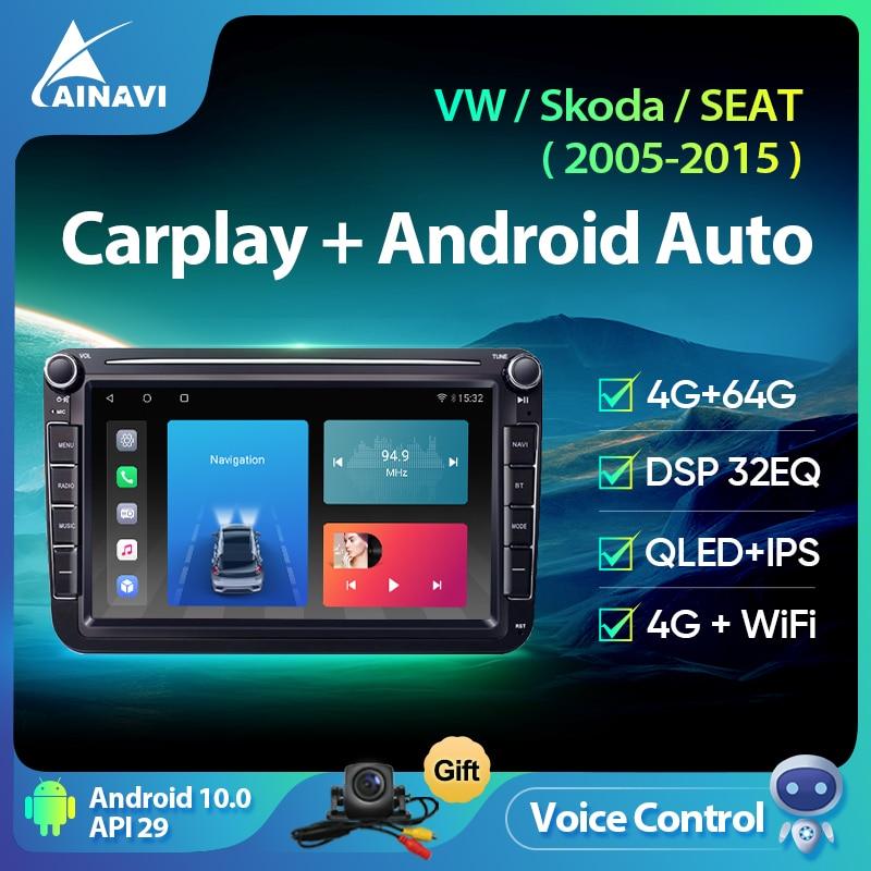 Ainavi Car Radio Android 10.0 For VW Volkswagen Polo Tiguan Golf 6 7 Passat b7 b6 Jetta Skoda Octavi