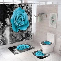waterproof bathroom shower curtain set with 12 hooks toilet seat bath mats and rugs non slip carpet toilet covers
