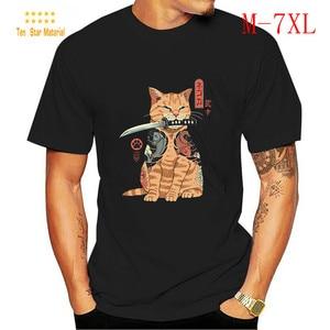 Cute Cat plus Size T-shirt Men's Kpop Clothes Oversized Clothing Men Tshirtlashion Retro Shirt Samurai 2020 Summer Man Funny