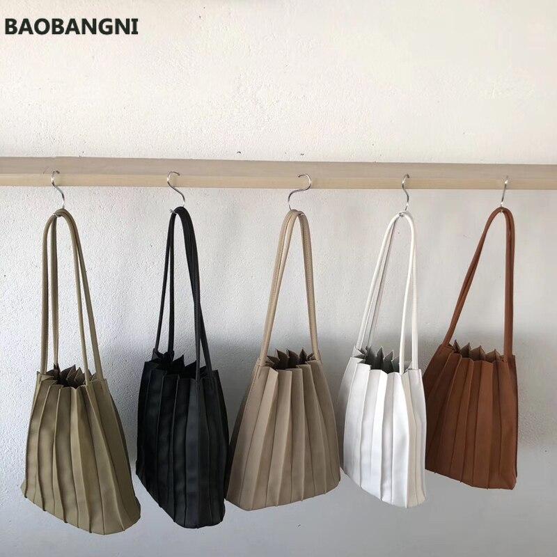 New Solid Color Female Pleated Bag Women Small Handbags Organ Designer Chic Bag Sets Japan Ladies Shoulder Bag Whole Sale