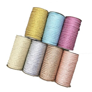 6MM Rubber Band Glitter Gold Silver Elastic Bands High Quality 144Yards Ribbon DIY Sewing Trim Waist Band Garment Accessory