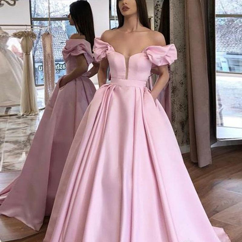 Mangas esponjosas corto satén prom Fiesta Vestidos de Noche vestido de noiva sereia gown satén robe de soiree vestido elegante 2020