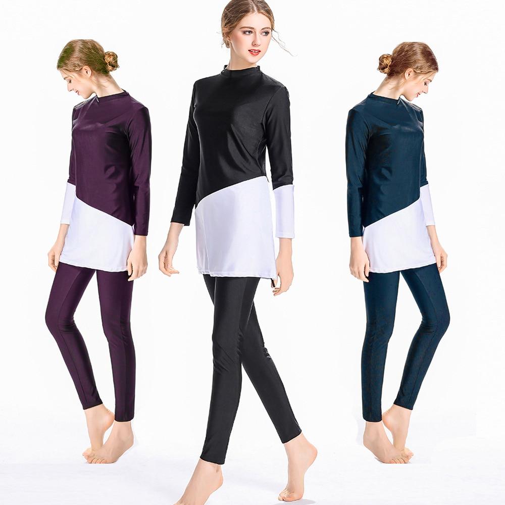 HYRAX Muslim Swimwear New Women Modest Patchwork Hijab Long Sleeves Sport Swimsuit 3pcs Islamic Burk