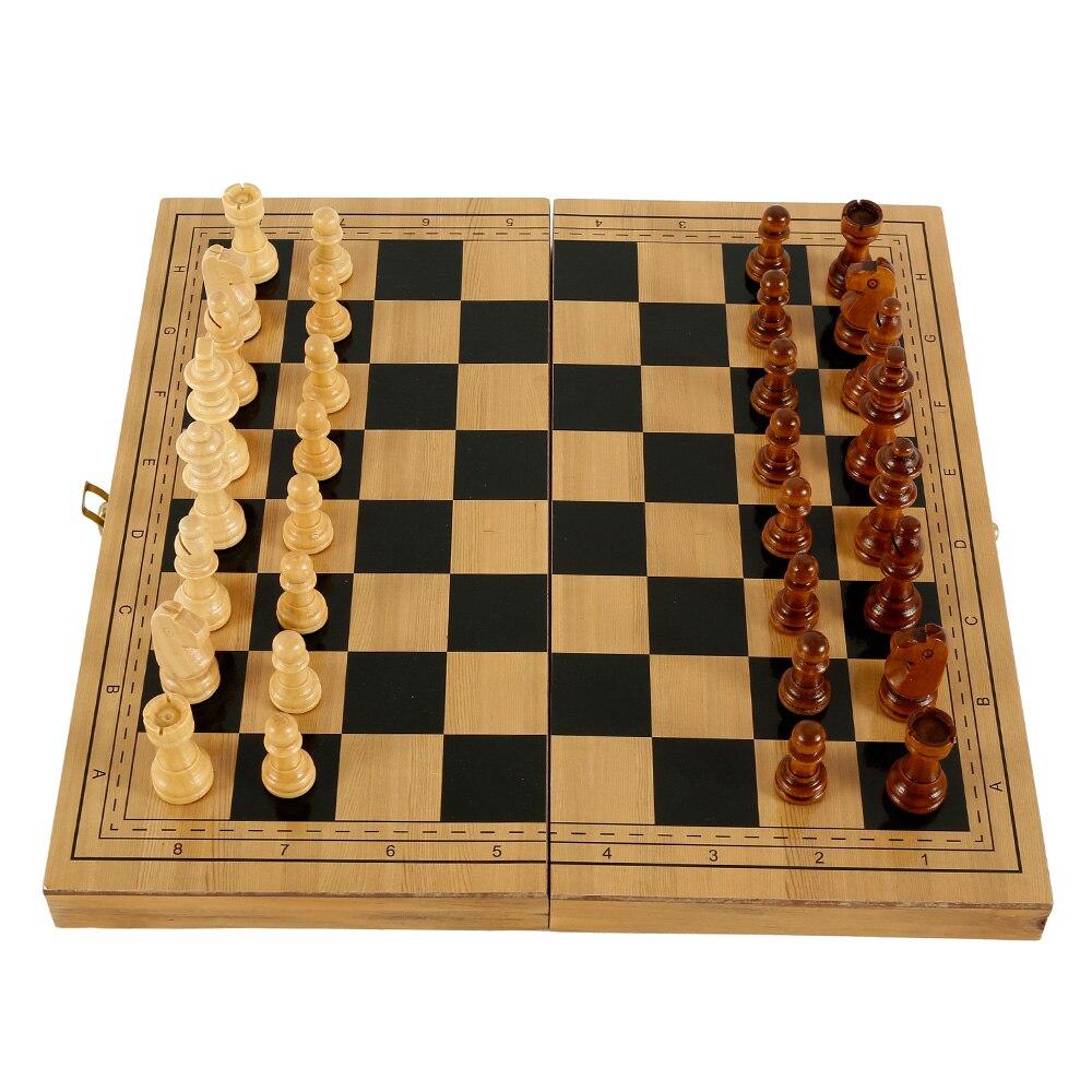 Xadrez internacional de madeira conjunto de madeira dobrável xadrez com feltro jogo tabuleiro jogos damas entretenimento adulto crianças presente da família