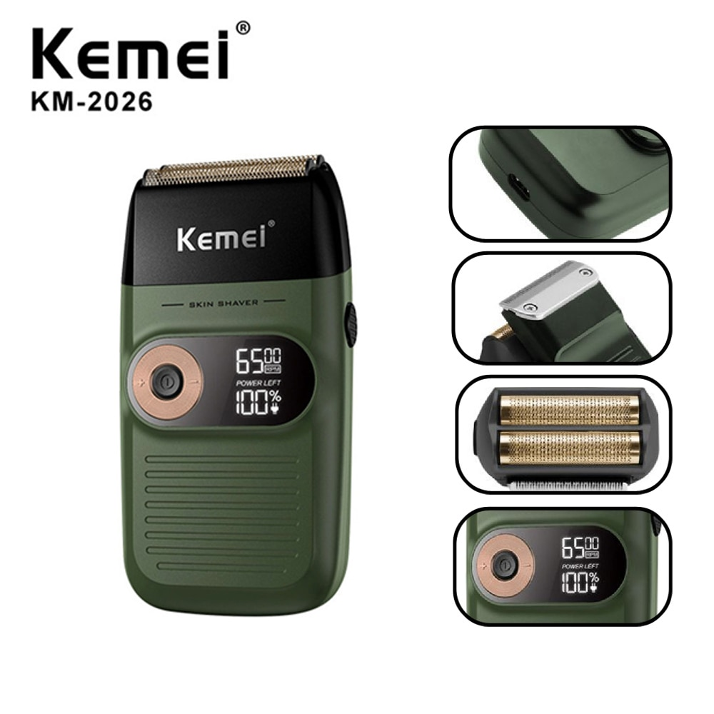 Kemei ماكينة حلاقة كهربائية للرجال التوأم شفرة مقاوم للماء الترددية اللاسلكي الحلاقة USB قابلة للشحن ماكينة حلاقة الحلاقة المتقلب