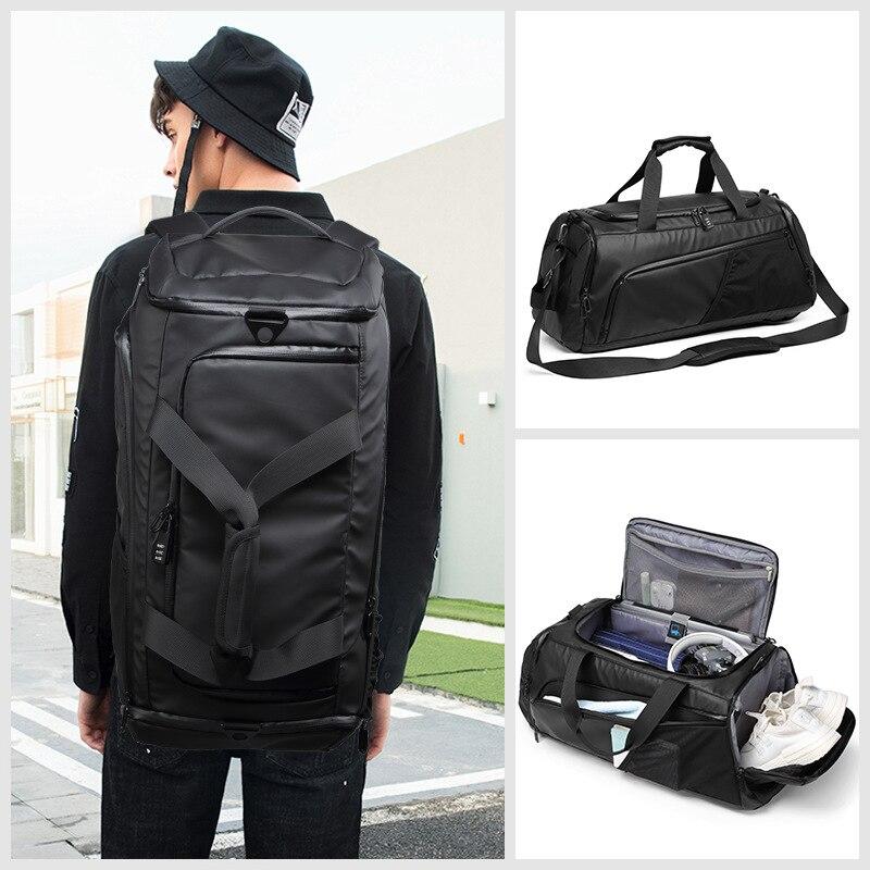 Men Gym Bag Large Travel Training Fitness Workout Sports Bag Backpack Waterproof Dry Wet Shoulder Laptop Bag 62x26x26cm T8839