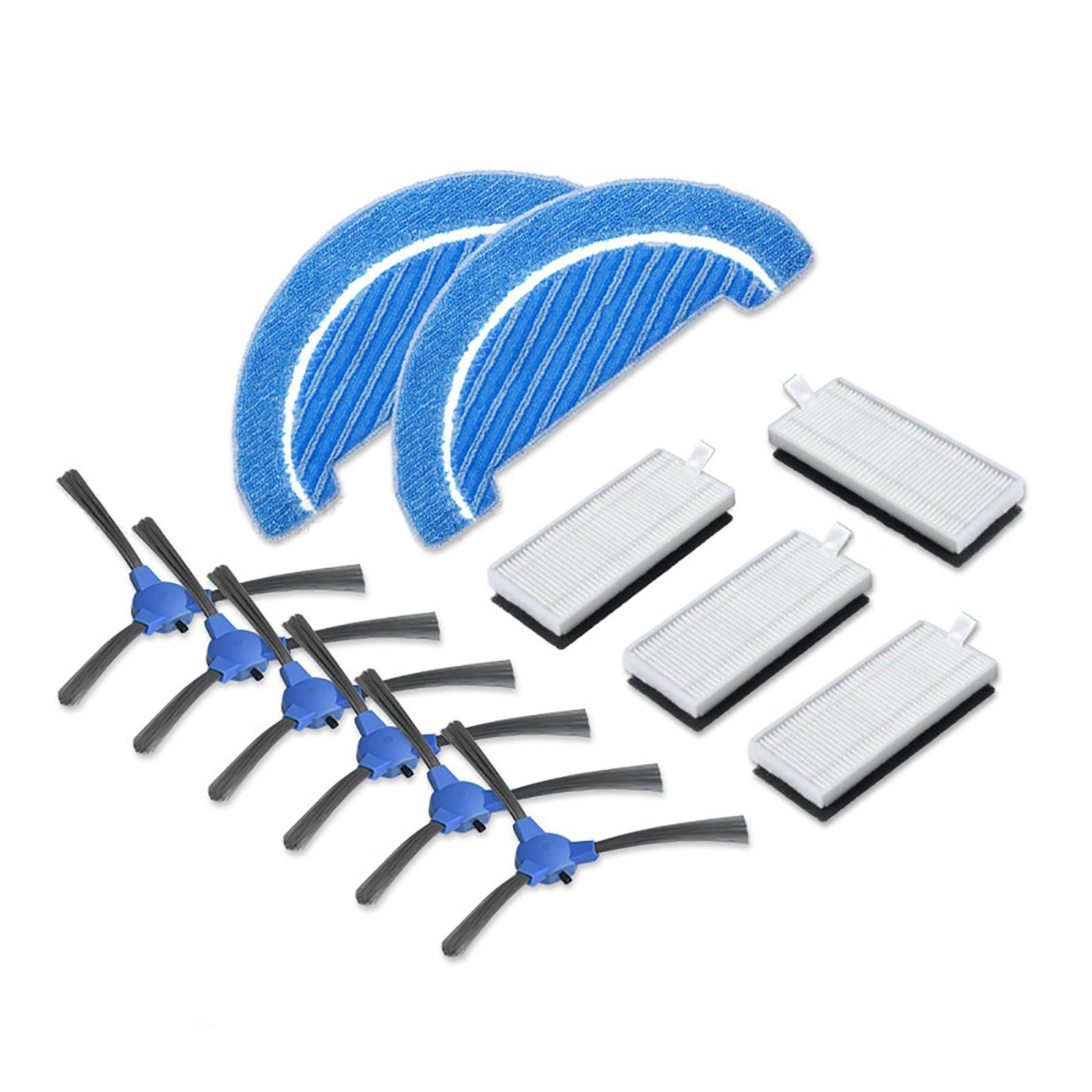 6 uds cepillos laterales + 4 Uds filtros + 2 uds tela para Conga 1090 accesorios de Robot aspirador