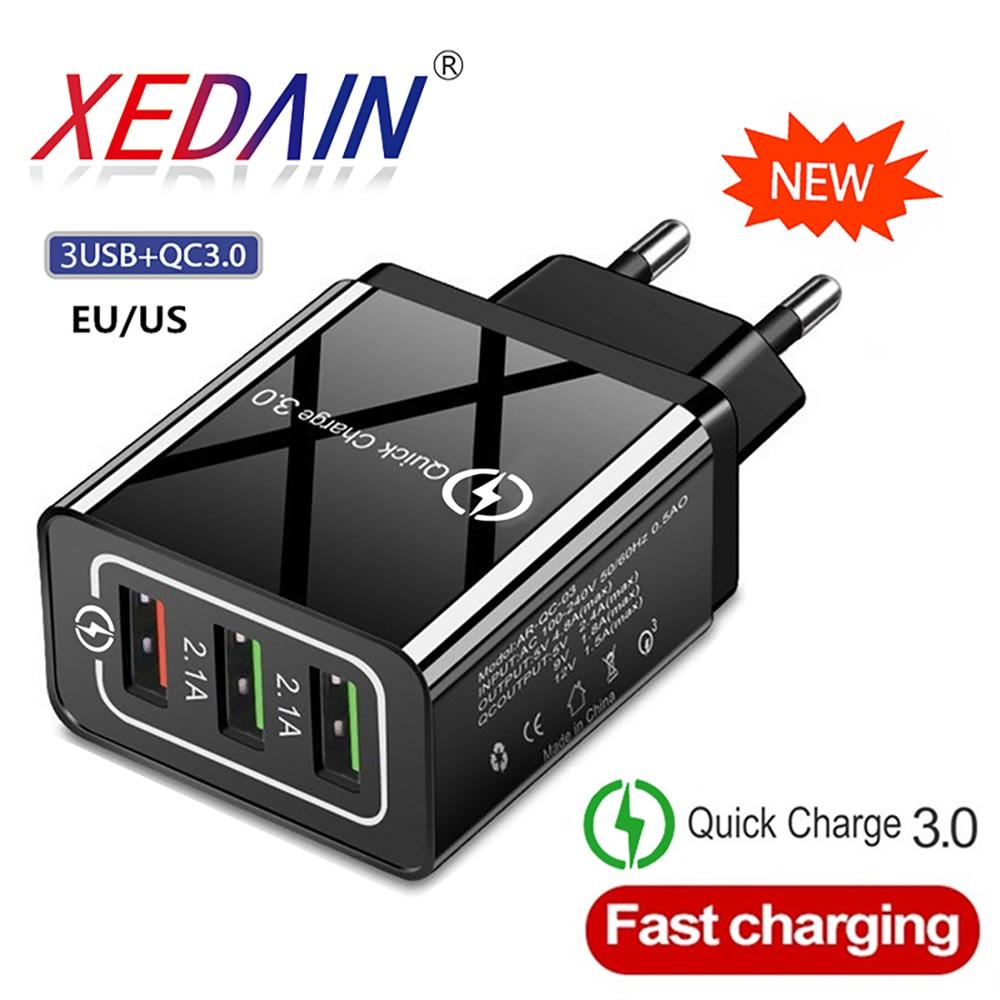 Быстрое зарядное устройство XEDAIN, USB зарядное устройство для телефона, быстрая зарядка QC3.0, 5 В/3A, EU/US, настенное зарядное устройство для Huawei iphone, Samsung, Xiaomi, зарядное устройство