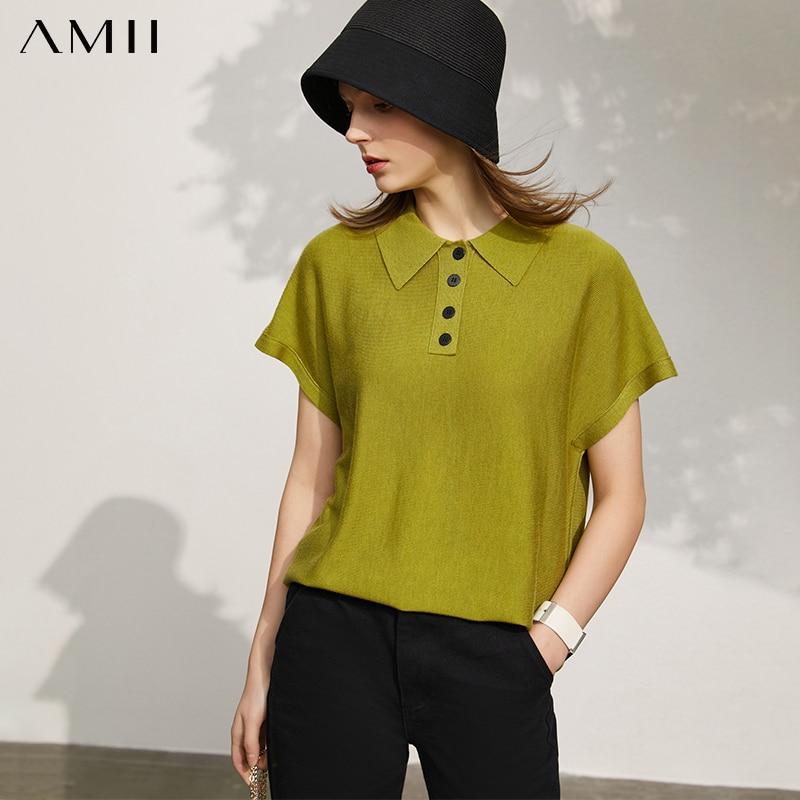 Amii-سترة نسائية بسيطة ، قميص غير رسمي ، لون عادي ، طية صدر السترة ، فضفاض ، أزياء نسائية ، ربيع وصيف 12140315