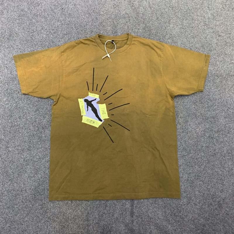 20SS New Cactus Jack Print Travis Scott T Shirt O Neck Washed Retro Men and Women Summer Tshirts Short Sleeve Loose Cotton Tees