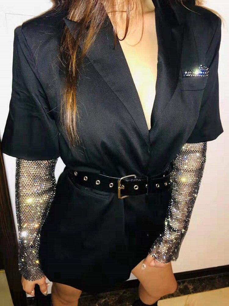 Mini vestido con lentejuelas elegantes y elegantes con cinturón para mujer