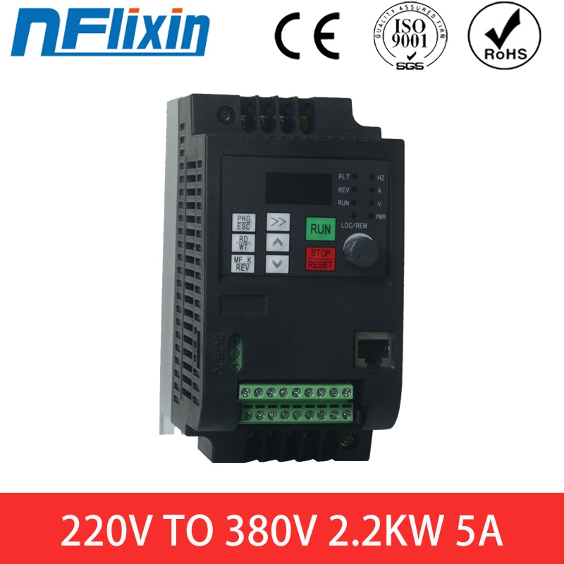 VFD-محول تردد أحادي الطور 1500 واط ، مدخلات 220 فولت ، خرج ثلاثي 380 فولت ، 1500 واط ، NFlixin 9100-1T3-00150G