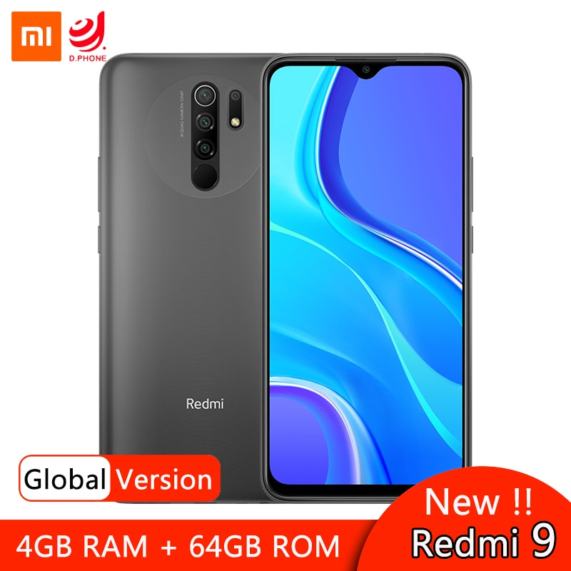 """Versión Global Xiaomi Redmi 9 4GB 64GB teléfono inteligente Helio G80 Octa Core 13MP Quad cámara trasera 6,53 """"FHD + pantalla batería de 5020mAh"""