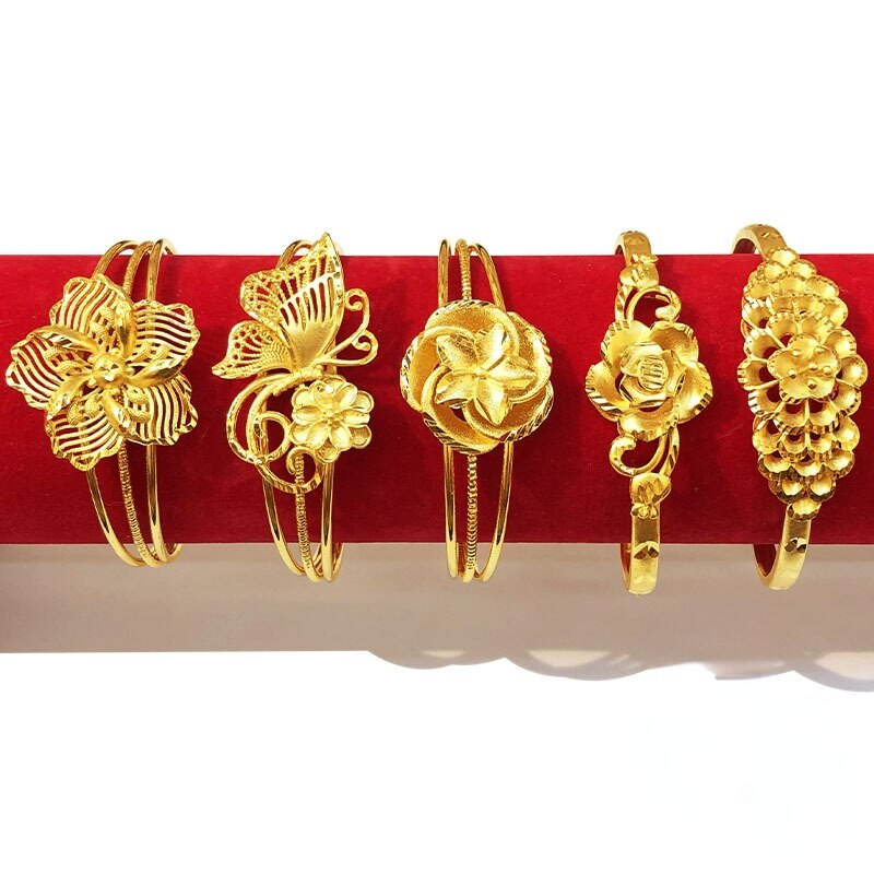 Женский золотистый свадебный браслет, латунный браслет с покрытием 24-каратным золотом, с имитацией дракона и феникса, браслет невесты с цве...