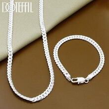 Collar de plata de ley 925 para hombre y mujer, conjunto de cadena de eslabones, joyería de moda, regalo de boda, 2 piezas, 6MM