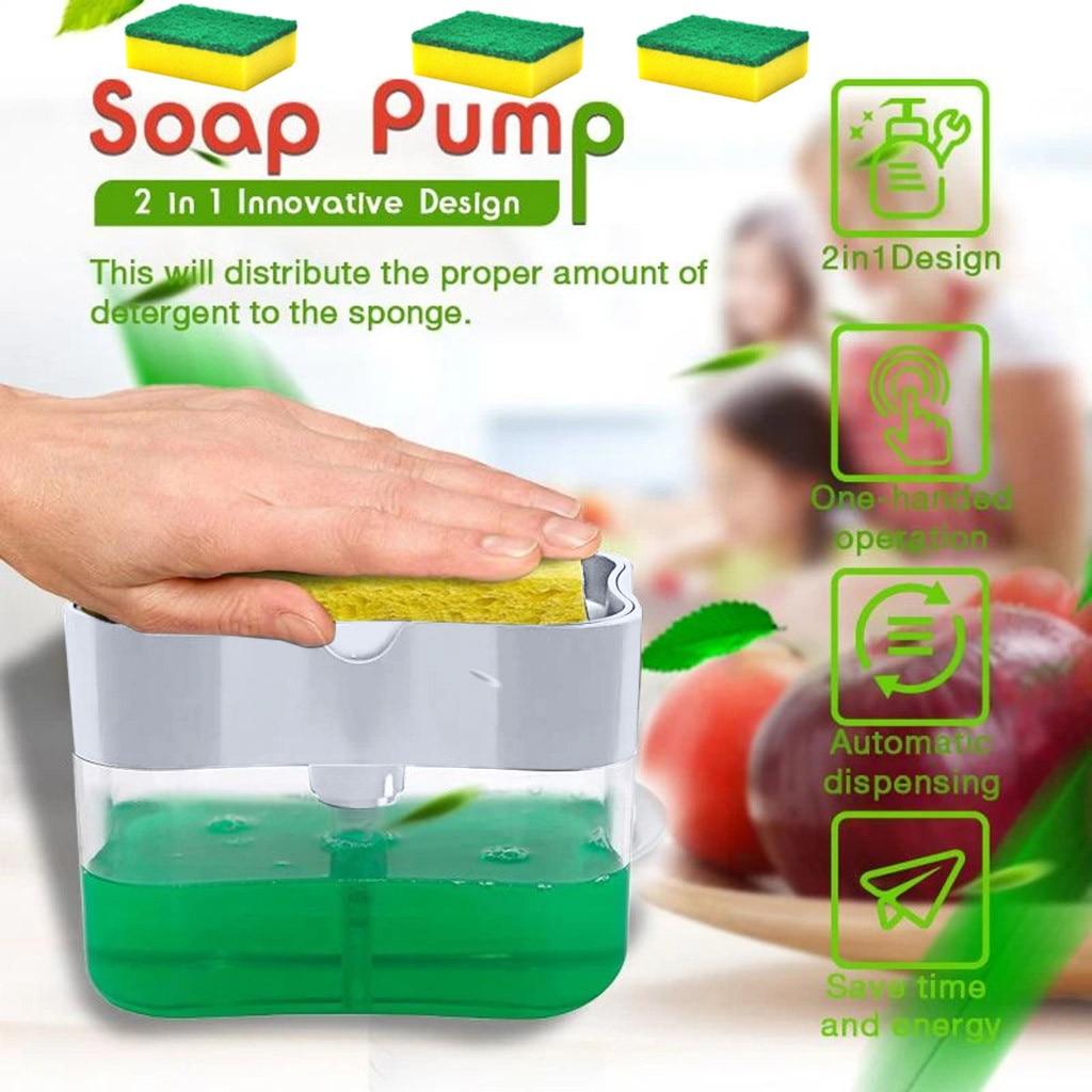 Dispensador De jabón De 2 en 1, Accesorio De esponja, estante