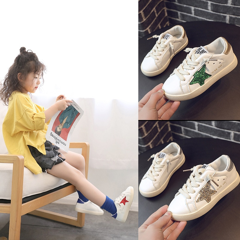 New 2020 Children's Stars Casual Sneakers Spring Autumn Fashion KIds Lace-Up PU Leather Boys School