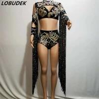 sparkly rhinestones black bikini tassels three piece set sexy bar nightclub women dj singer dance outfit crystals stage costume
