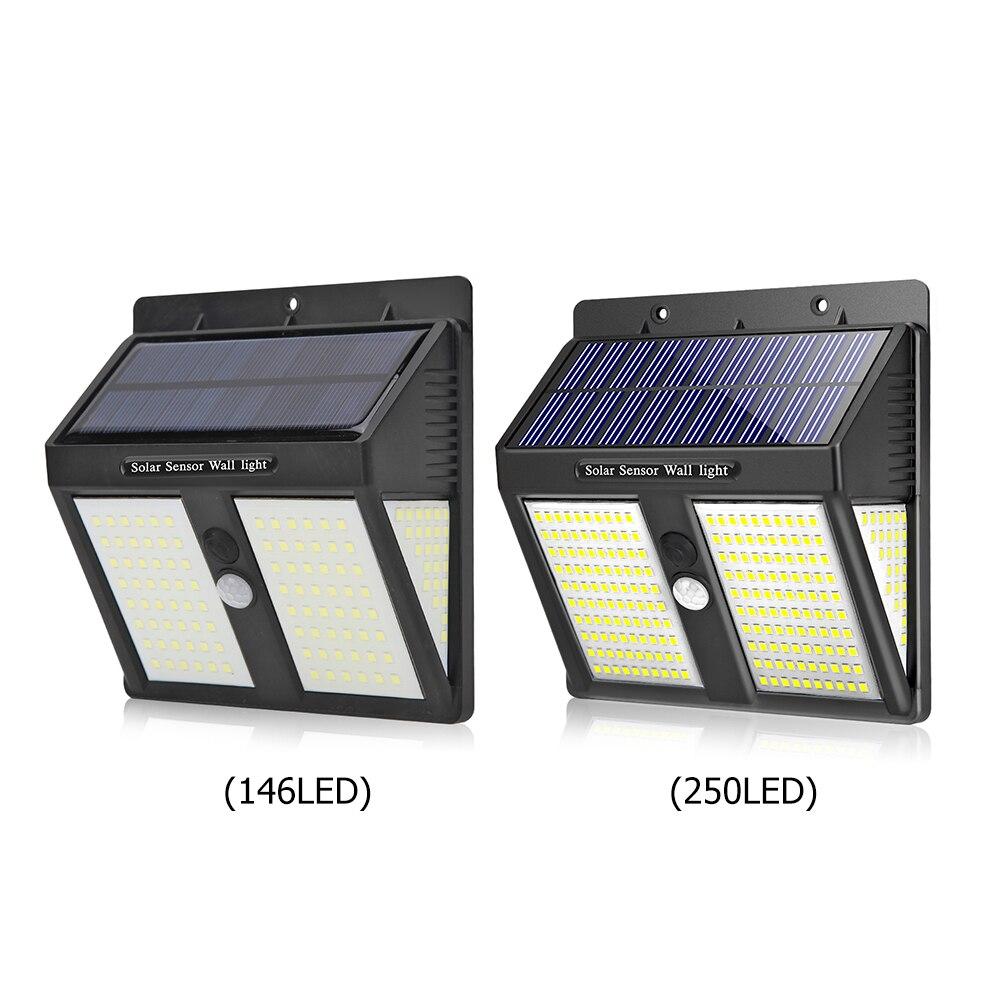 Lámpara LED de calle de fácil instalación impermeable con Sensor de movimiento PIR a prueba de agua y energía Solar para jardín 146/250