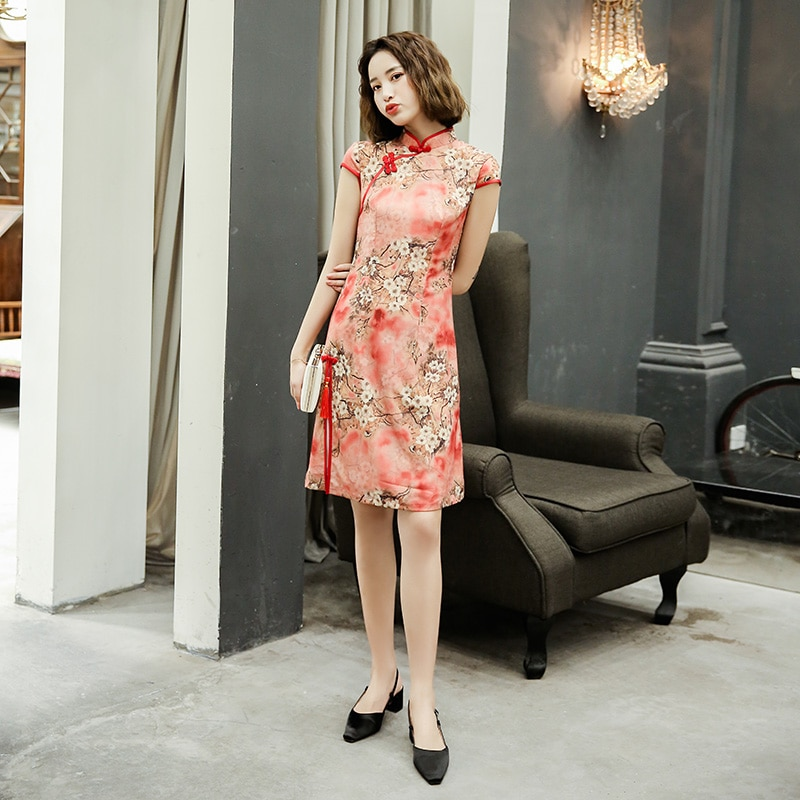 Элегантный тонкий размера плюс Qipao новый китайский женский район платье Мандарин Воротник Винтаж Cheongsam