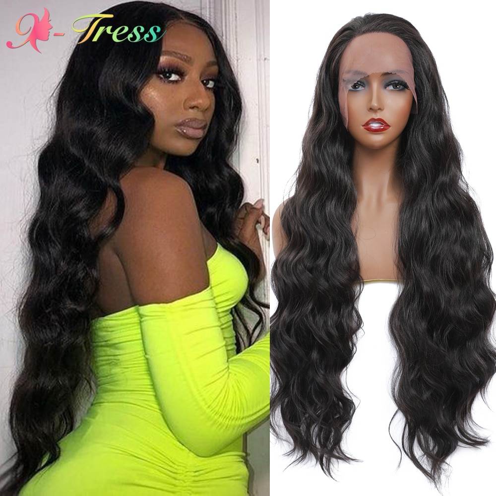 X-TRESS Dark Brown Trendy Wavy Synthetic Lace Front Wigs for Black Women 32 inches Long Body Wavy Free Part Lace Wig Heat Resist