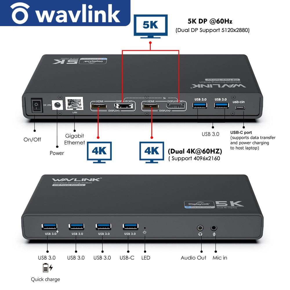 Wavlink 4K USB-C محطة إرساء عالمية جيجابت Lan USB 3.0 5K HDMI متوافق DP عرض تسليم الطاقة لنظام التشغيل ويندوز ماك