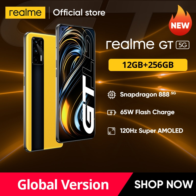 Смартфон realme GT, телефон со встроенным дисплеем, Snapdragon 888, 65 Вт, 120 Гц, 6,43 дюйма, AMOLED, 12 Гб, 256 ГБ, NFC